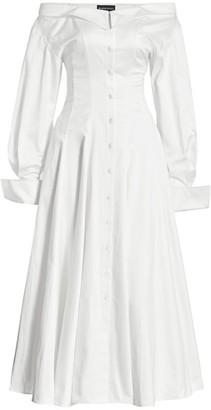 Brandon Maxwell Satin Poplin Off-The-Shoulder Shirtdress