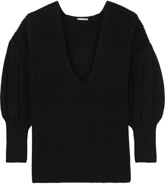 Caroline Constas Ribbed Cotton And Wool-blend Sweater