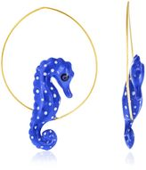 Nach Blue Seahorse Hoop Earrings