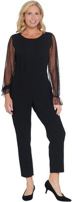 Du Jour Petite Mesh Sleeve Slim Leg Knit Jumpsuit