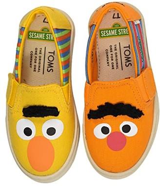 Sesame Street Toms Kids TOMS Kids Luca (Toddler/Little Kid) (Yellow/Orange Bert and Ernie Face Canvas) Kid's Shoes