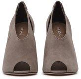 Reiss Dalida Suede - Peep-toe Heels in Grey, Womens