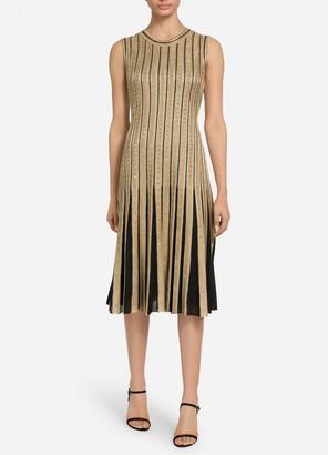 St. John Gold Cable Stripe Knit Dress