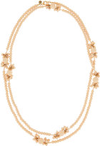 Lydell NYC Extra-Long Matte-Beaded Floral Station Necklace, Pink