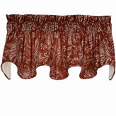 Asstd National Brand Floating Leaves Scalloped Lined Rod-Pocket Valance