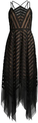 BCBGMAXAZRIA Chevron Tulle Handkerchief Dress