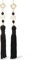 Kenneth Jay Lane Tasseled Silk, Gold-plated And Faux Pearl Earrings - Black