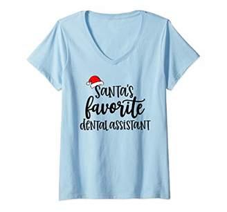 Womens Santa's Favorite Dental Assistant - Dentist Office Gift V-Neck T-Shirt