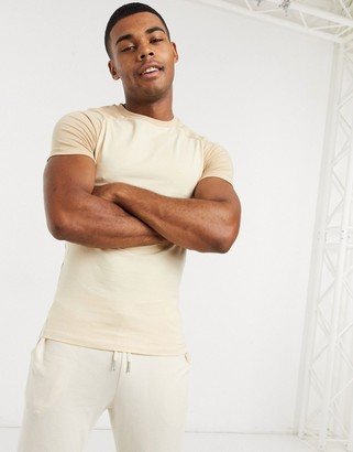 ASOS DESIGN muscle fit raglan t-shirt with crew neck in ecru and beige