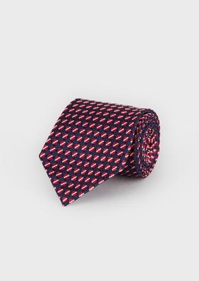 Emporio Armani Silk Tie With Jacquard Motif