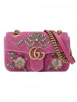 GG Marmont velvet shoulder bag with embroidered flowers