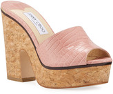 Jimmy Choo Deedee Shiny Cork Platform Sandals