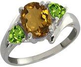 Gem Stone King 1.67 Ct Oval Whiskey Quartz and Green Peridot 14k White Gold Ring