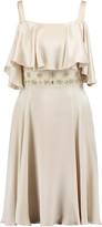Temperley London Crossbone cold-shoulder embellished silk-blend satin mini dress