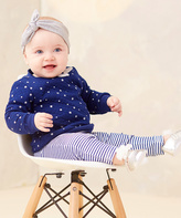 Baby Essentials Navy Star Quilted Sweater & Stripe Leggings - Infant