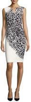 Milly Cady Brushstroke Feather-Print Sheath Dress, Black/White