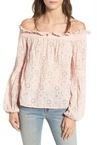Hinge Ruffle Off the Shoulder Top