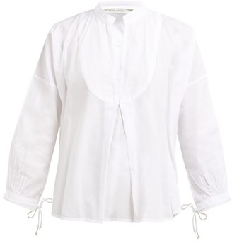 Queene and Belle Moon Pleat-front Cotton Voile Shirt - White