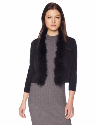 Calvin Klein Women's Solid Shrug with Faux Fur Trim