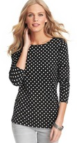 LOFT Polka Dot Cotton Shoulder Zip Long Sleeve Tee