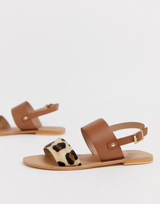 Asos DESIGN Faye leather flat sandals in leopard