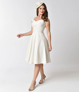 Stop Staring Mad Style Ivory Cap Sleeve Swing Dress