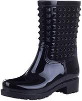 Jamron Women's Stylish Chunky Heel Mid-calf Outdoor Snow Rain Boots Slip On Wellington Boots With Punk Style Studs SN02008 US8