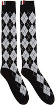 Thom Browne Black Argyle Intarsia Over-the-calf Socks