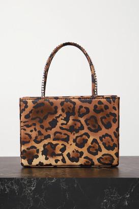 Amina Muaddi Gilda Mini Crystal-embellished Leopard-print Satin Tote - Leopard print