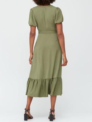 Very Wrap Short Sleeve Midi Dress - Khaki