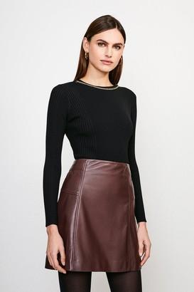 Karen Millen Long Sleeve Knitted Rib Eyelet And Trim Top