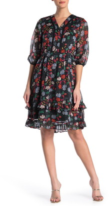 Nanette Lepore V-Neck Elbow Length Sleeve Floral Print Dress
