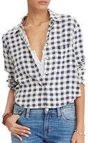 Denim & Supply Ralph Lauren Cropped Plaid Crepe Shirt