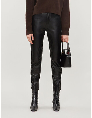 Sandro Slim-fit high-rise leather trousers