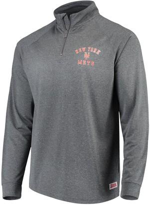 Stitches Men's Heathered Charcoal New York Mets Team Raglan Quarter-Zip Pullover Jacket