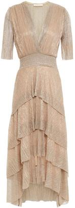 Maje Tiered Metallic Knitted Midi Dress