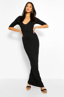 boohoo V Neck 3/4 Sleeve Maxi Dress