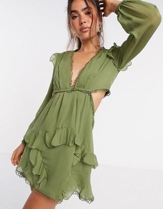 ASOS DESIGN mini dress with long sleeve and circle trim