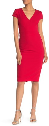 Donna Morgan Cap Sleeve Crepe Sheath Dress
