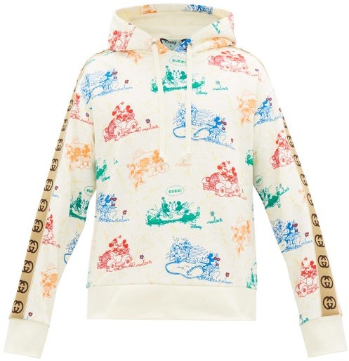 Gucci Mickey Mouse-print Cotton-jersey Hooded Sweatshirt - Mens - White Multi