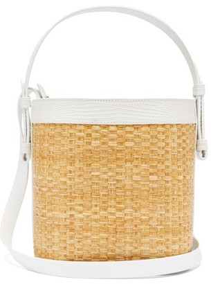 Nico Giani Adenia Large Straw And Leather Bucket Bag - White Multi
