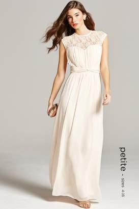 Petite Nude Sheer Lace Maxi Dress