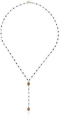 Gigi Clozeau 18kt rose gold Classic Gigi Madone black beaded rosary necklace