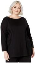 Eileen Fisher Plus Size Organic Cotton Stretch Jersey Bateau Neck Tunic (Black) Women's Clothing