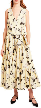 Erdem Mimosa Sleeveless Floral Linen Midi Dress