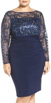 Marina Plus Size Women's Sequin Illusion & Jersey Side Ruched Sheath Dress