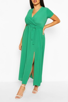 boohoo Plus Wrap Cap Sleeve Maxi Dress