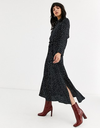 Topshop shirt dress with open back in polka dot