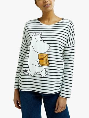 People Tree Moomin Pancake Graphic Stripe T-Shirt, Blue/White