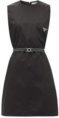 Prada A-line Logo-patch Nylon Dress - Black